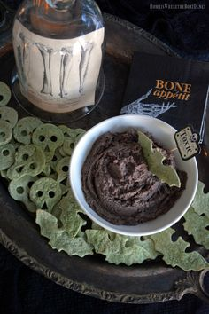 Easy Spooky Spinach Tortilla Chips with Black Bean Hummus for Halloween | homeiswheretheboatis.net