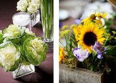 eco-friendly fall centerpieces: sunflower and cabbage    More Fall Wedding Tips: http://www.mywedding.com/blog/wedding-basics/decor-and-details/ceremony-decor/eco-chic-fall-wedding-tips-the-green-bride-guide/#