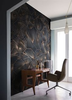 The irregular shape of the furniture and the pattern on the wall are very art deco Art Deco Living Room, Art Deco Bedroom, Art Deco Design, Wall Design, House Design, Interiores Art Deco, Design Jobs, Design Ideas, Art Deco Wallpaper