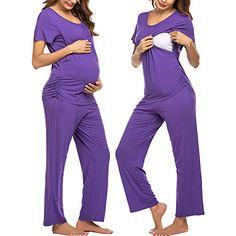Maternity Pajama Set, Nursing Pajama Set, Maternity Nursing Pajamas, Night Outfits, Fashion Outfits, Night Suit For Women, Breastfeeding Tops, Outfit Styles, Sleepwear Sets