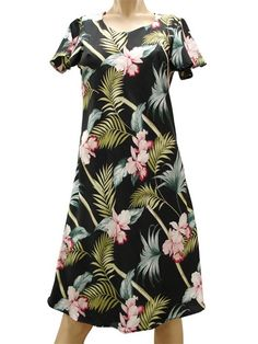 ceb91bfc05 Paradise Found Orchid Bamboo Balck Rayon Hawaiian A-Line with sleeves Short  Dress Luau Dress