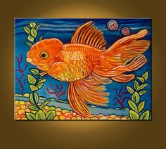 Mr. Goldfish II -- 18 x 24 inch Original Oil Painting -- READY to HANG -- painted on the sides