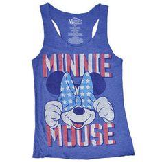 Disney Minnie Mouse American Flag Bow Tank Top T-Shirt Juniors Disney 4th of July Print 2