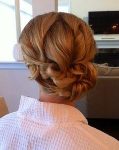 elegant, curled side bun up-do #Bridesmaid #hairstyle #wedding