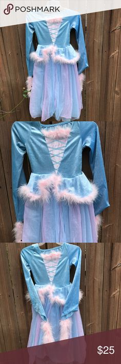 Princess Costume Pretty blue and pink princess costume Netting with pink accents Size 7/8 See pictures Excellent condition So pretty Be the bell of the ball! Costumes Halloween