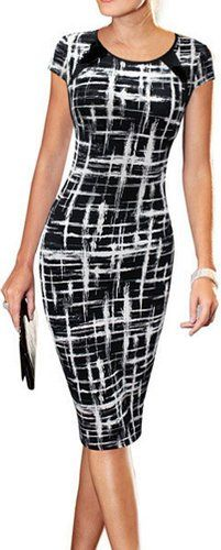 LUNAJANY Women's Summer Casual Black Striped Print Wear to Work Sheath Dress Medium