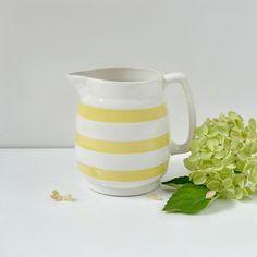 Irish pottery pitcher by TheGoldGator on Etsy Irish Pottery, Cornishware, Wooden Spoons, Yellow Stripes, Vintage Yellow, Earthenware, Cottage, Dishes, Etsy