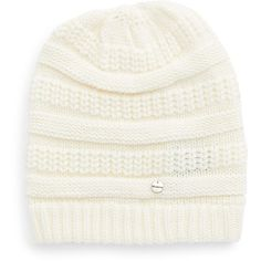 Modena Knit Beanie ($32) ❤ liked on Polyvore featuring accessories, hats, off white, knit hat, off white hat, stitch hat, knit cap beanie and pattern hats
