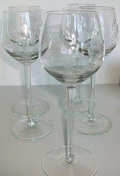 antique etched crystal stemware   Vintage Etched Crystal Wine Glass Stemware set of by LaCheriMaison