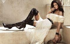Lataa kuva Natasha Barnard, muoti malleja, kauneus, ruskeaverikkö, valkoinen mekko