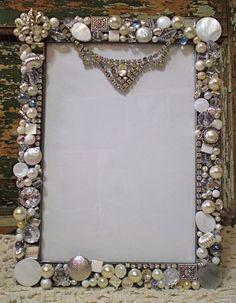 Mosaic Large Shabby Jeweled Picture Frame - Loads of Vintage Rhinestones -  Holds 5x7 Photo