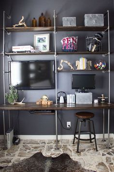 DIY Industrial Pipe and Wood Shelves - Tips and Tricks | http://www.designimprovised.com