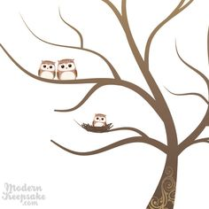 Fingerprint Baby Shower Tree - Thumb Print Guest Book Print - Companion Owls and Nested Baby Owl - 50 Signature Guestbook