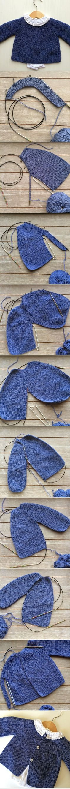 Step by step tutorial for knitting a short-row baby sweater worked sideways (gilet à rangs raccourcis) ~ Text instruction: free downloadable PDF available in Portuguese ~ Malha a Malha by Ana Leal: