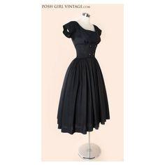 1950's Black Silk Audrey Hepburn Style Tea Length Dress- M 50's 60's VINTAGE DRESSES Audrey Hepburn Style : found on Polyvore