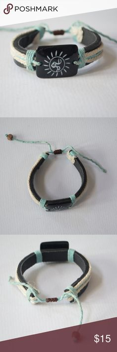 Leather Sun Bracelet $$OBO$$ Adjustable cord +*  CLOSET CLEAR OUT!!!! Taking all offers made using the button, I especially give great deals on bundles. Note: I do not take offers of $5 or less. Also I do not trade. Jewelry Bracelets