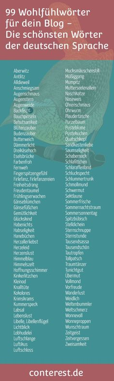 99 feel-good words - the most beautiful words of the German language - Schule Deutsch - Jokes The Words, Cool Words, Writing A Book, Writing Tips, Learn German, Most Beautiful Words, Beautiful Pictures, German Language Learning, German Words