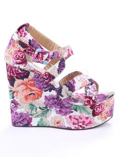 Multi-Color Strappy Floral Criss-Cross Cloth Women's Wedge Sandals