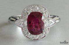 Custom Fine Jewellery Design New Zealand Cushion Cut Ruby and Pear Cut Diamond Cluster Dress Ring - Antique Halo Style