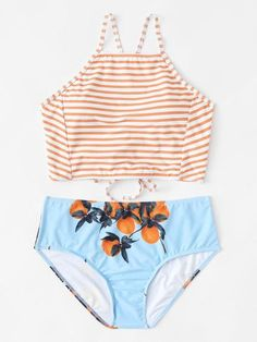 High Neck Striped Bikini Set -SheIn(Sheinside)