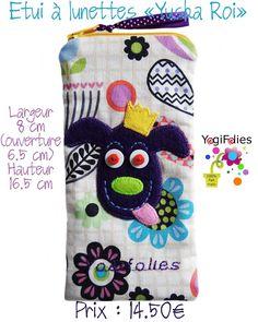 """Yogifolies: Vide-poches, trousse géante, porte-monnaie, mini porte-monnaie, trousse asymétrique, étui à lunettes et grande pochette """"Yuska Roi"""""""