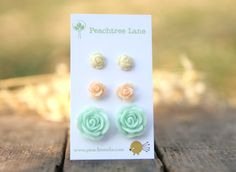 Cream Ivory Rose Earrings // Mint Seafoam Green Rose Flower Earrings // Peach Rose Earrings // Bridesmaid Gifts // Country Wedding via Etsy