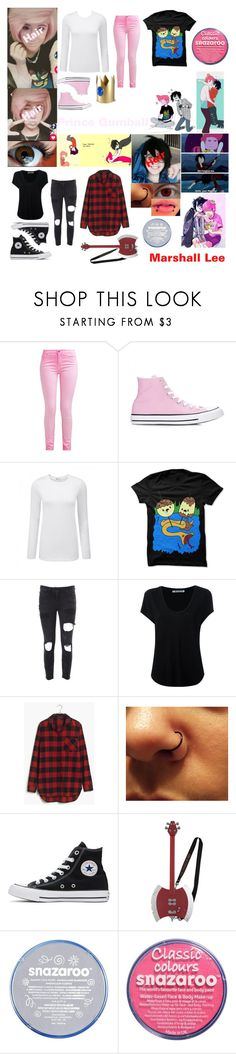"""Marshall Lee and Prince Gumball **cosplay**"" by kark1tty ❤ liked on Polyvore featuring Converse, Faith Connexion, Alexander Wang, Madewell and Hot Topic"