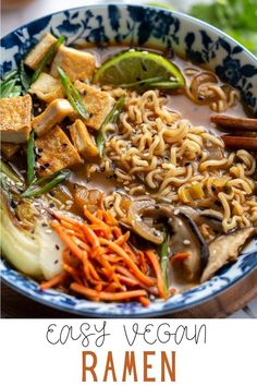 Nourishing Vegan Ramen is a flavorful blend of tofu, bok choy, green onion, ginger, mushrooms and ramen noodles, all simmered in a complex and savory broth. The perfect easy, plant-based cozy dinner or lunch for colder months! Best Tofu Recipes, Ramen Recipes, Vegan Recipes, Ramen Dishes, Sauteed Carrots, Vegan Ramen, Ramen Noodles, Vegan Dinners, Vegane Rezepte