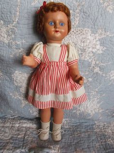 Mohair wig, glass eyes. If you make walk she moves the head side to side. All original, including the clothes, socks and shoes. | eBay!
