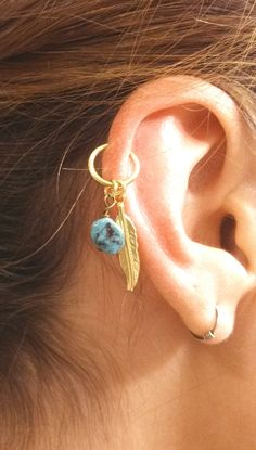 Turquoise Gold Cartilage Hoop Silver Feather by MidnightsMojo
