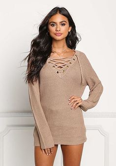 Khaki Thick Knit Lace Up Tunic Sweater Top Knit Lace 2d0510acb