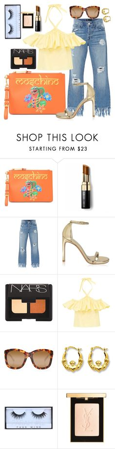 """Hot days approaching"" by diana-dabs ❤ liked on Polyvore featuring Moschino, Bobbi Brown Cosmetics, 3x1, Stuart Weitzman, NARS Cosmetics, Linda Farrow, Huda Beauty, Yves Saint Laurent, YSL and NARS"