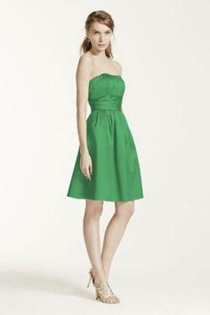 Cotton Sateen Short Strapless Ruched Dress - Davids Bridal
