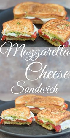 Mozzarella Cheese Sandwich made with fresh cheese, roasted red peppers and homemade arugula pesto… - #Food