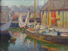 """""""Gloucester Harbor Oil Sketch"""", Jane Peterson, oil on board, 11 x 14"""", collection of Jonathan Small."""