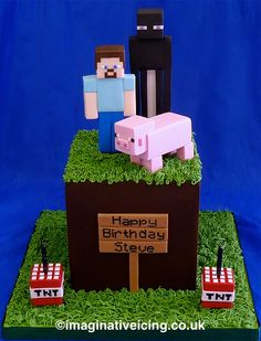 Birthday Cake shaped as a Minecraft grass cube with Enderman, Steve and Pig characters plus some TNT candle holders Minecraft Torte, Minecraft Pasta, Minecraft Birthday Cake, Easy Minecraft Cake, Minecraft Crafts, Lego Minecraft, Minecraft Skins, Minecraft Buildings, Happy Birthday Steve