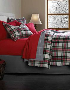 Perfect with Deep Crimson Red PeachSkinSheets....this stewart tartan inspired flannel Distinctly Home Plaid Duvet Cover and Shams | repinned by PeachSkinSheets.com
