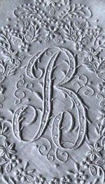 vintage madeira whitework hanky monogrammed B Embroidery Letters, Embroidery Motifs, Embroidery Transfers, Vintage Embroidery, Embroidery Designs, Vintage Fabrics, Vintage Linen, Vintage Monogram, Thread Painting