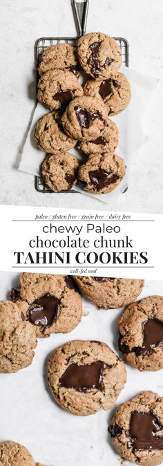 Epic Paleo Tahini Chocolate Chunk Cookies are soft and chewy, loaded with chocolate chunks, and rich with tahini flavor. These cookies are gluten free, Paleo, and dairy free! Paleo Cookies, Healthy Cookie Recipes, Gluten Free Cookies, Baking Recipes, Paleo Baking, Paleo Treats, Chocolate Chunk Cookies, Paleo Chocolate, Chocolate Recipes