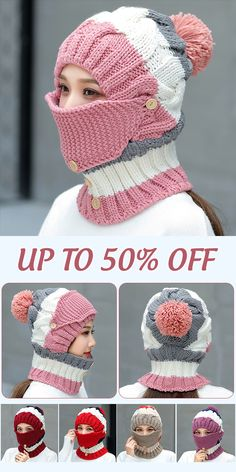 knit headband pattern Women Winter Windproof Warm Plus Velvet Knit Hat Scarf Set with Face Mask Thicken Ski Earmuffs Cap Loom Knitting, Knitting Patterns Free, Knit Patterns, Baby Knitting, Crochet Mask, Knit Crochet, Knitted Headband, Knitted Hats, Crochet Character Hats