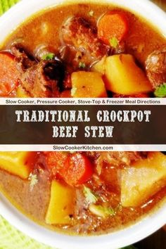 Quick and simple, 10-Minute recipe for slow cooker beef stew! With crockpot, stove-top, pressure cooker, & freeze ahead directions! I hope this recipe helps you feed everyone & makes them smile. Enjoy! | Slow Cooker Kitchen Slow Cooker Kitchen, Slow Cooker Beef, Crockpot Recipes, Soup Recipes, Easy Beef Stew, Crock Pot Soup, Freezer Meals, Stove, Simple