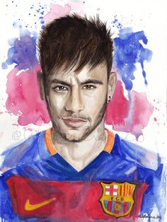 Watercolor Portrait of Neymar by WaterLyrics on Etsy