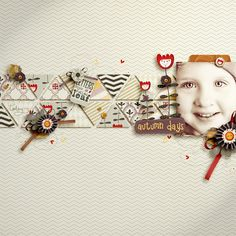 Great use of white space on this scrapbook layout....love the triangles with embellishments