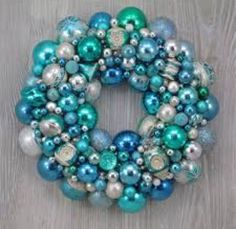 Faded Aqua Blue Christmas Ornament Wreath with Vintage Distressed Shiny Brites and Fancy Indents by TheHauntedLamp on Etsy Christmas Ornament Wreath, Vintage Christmas Ornaments, Glass Ornaments, Christmas Decorations, Christmas Arrangements, Aqua Christmas, Christmas Past, Xmas, Christmas Ideas