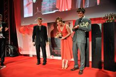 Émilie Dequenne and Pierre Rochefort with their Golden Swann for Best Actress and Best Actor
