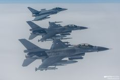 The fourth edition of the NATO air drills series Ramstein Alloy took place in Baltic airspace, mainly over Lithuania, on Apr. 25 and 26. Dutch F-16s and one of two Typhoons closing on the camera ship's left wing.