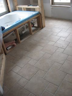 Pinwheel pattern example w/ Rialto Noce porcelain tile. I will be using a combo of Rialto Beige 6x6 w/ Rialto Noce 6x6 and Rialto Beige 12x12.