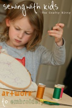 The Crafty Kitty | Sewing with Kids (artwork to embroidery)