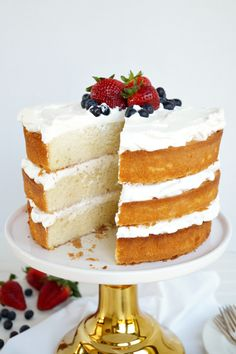 a rich, fluffy buttery sponge cake (made with plenty of butter and a lot of eggs); soaked in classic vanilla tres leches; layed with fresh whip cream Cake Recipes, Dessert Recipes, Desserts, Lemon And Coconut Cake, Tres Leches Cake, Butter, Sponge Cake, Tiered Cakes, Let Them Eat Cake