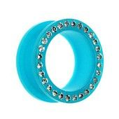 Neon Blue Jewelled Flesh Tunnel. Buy now at www.bodyjewelrypiercing.com #fleshtunnels #plugs #fleshplugs #bodyjewelry #bodypiercing #piercingjewelry #piercingfashion